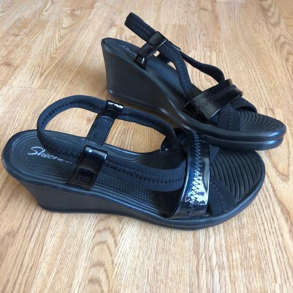 Skechers Shoes | Black Wedge Sandals